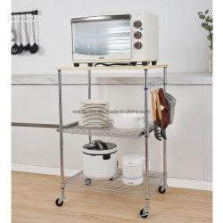 Populares ajustable de 3 niveles de almacenamiento de la cocina de acero cromado Trolley con estantes de alambre de diapositivas