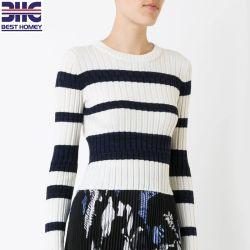 여자의 긴 소매 대원 목 상단 모직 실크 캐시미어 천 혼합은 숙녀를 위한 Ribbed 뜨개질을 한 스웨터 스웨터에 의하여 수확된 의복을 줄무늬로 했다