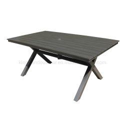 Hôtel des meubles de jardin Bois Plastique rectangle supérieur table avec parasol trou