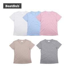 As mulheres Bestsub Ronda do pescoço de manga curta de poliéster de impressão por transferência térmica de sublimação camisola T (JA202)