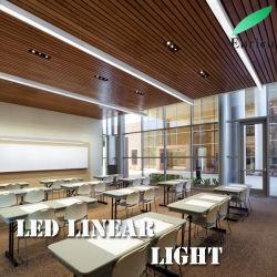 Hot vendre 4FT 40W raccordables Lumière linéaire LED Plafond de l'architecture moderne et lumineux lampe de la poignée de commande de suspension linéaire de dispositif d'éclairage 4600lm de lumière blanc 5000K