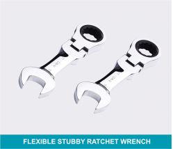 CRV un matériau flexible Clé à tête courte combinaison clé à cliquet