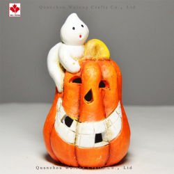Mestiere sorridente illuminato della resina della decorazione della Camera di Halloween del fantasma della zucca