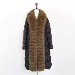 2021 Outono e Inverno Novo Estilo jaqueta para Baixo da Grande Colar de cabelo longo Upscale de revestir forma simples vestuário quente