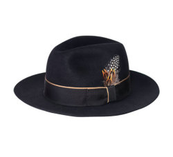La moda más reciente de fieltro de lana de los hombres Fedora sombrero con plumas recorte
