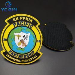 China personalizados acessórios de vestuário etiqueta com a transferência de calor do PVC roupas de borracha adesivo Souvenir Militar Nome decorativas patches para o comércio por grosso (PT08)