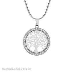 A vida de árvore Crystal Rodada Pequenas Colar Pendente Mulheres Jóias de dons