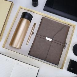 Commerce de gros ensemble cadeau pour ordinateur portable en cuir d'affaires avec le stylo et une bouteille pour dons de la banque