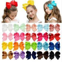 Meninas Big sólidas Hair Bow Clipes com ganchos de grandes dimensões