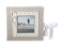 Diamante blanco en forma de corazón doble Recuerdos de Boda Photo Frame Picture Album