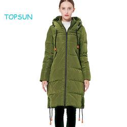 Women's Long vert foncé Couleur de contraste épaissie coulisse Down Jacket Manteau à capuchon