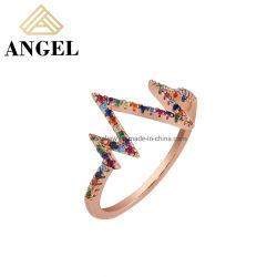 أزياء بالجملة للمصنع المباشر 925 فضة مجوهرات فضة الاسترليني نوع AAA متعددة الألوان حلقة زركونيا مكعبة