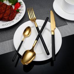 熱く贅沢な平皿類の一定のレストランのホテルテーブルウェアスプーンおよびフォークのステンレス鋼の一定の結婚式の食事用器具類セット