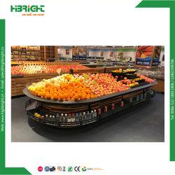 Supermercado Madeira e Metal Frutas Prateleira Rack de exibição de produtos hortícolas