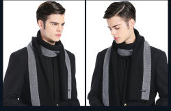 Homem de alta qualidade personalizada 100%Lã Cashmere Manta tricotado lenço de Inverno 4