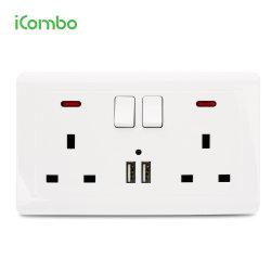 При двойной 13A настенные розетки электроэнергии с зарядкой через USB портов