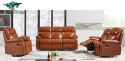 快適な部門別の現代リクライニングチェアの傾向の本物の使用された革ソファー