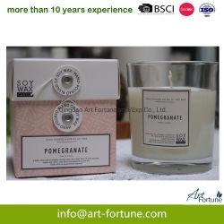 Comercio al por mayor personalizado Vela de cera de soja perfumada en frasco de vidrio con bonita Caja de regalo para la decoración del hogar