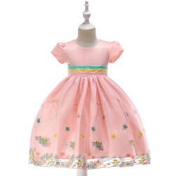 Flor de bordados florales para niños Short-Sleeved vestido vestido de novia vestidos de Princesa