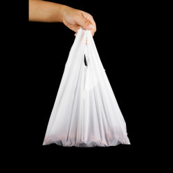 Ecológico de amido de milho+Pbat Compostável+PLA T-shirt de plástico biodegradável sacola, Sacola de Compras