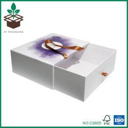 贅沢な引出しの形のリボンのハンドルのボール紙のペーパー包装のギフト用の箱