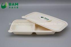 Completamente biodegradable del compartimento de varios contenedores de Comida de plástico desechables de caña de fibra vegetal Takw-Away Compostable los recipientes de comida