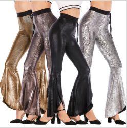 ハイウェストワイドレッグカクテルフバウンスラッフルレギンスは PU を薄くします 女性のための革 Leggings