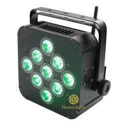 LED piatto 9X18 W 6 in 1 Rgbaw UV alimentato a batteria PAR Leggero con controllo DMX wireless