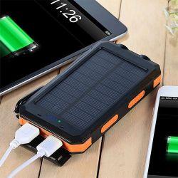 15000 mAh cargador de móvil USB doble de Energía Solar de Emergencia Cargador de banco con luz LED