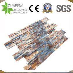 Muro di sostegno impilato arrugginito naturale dell'ardesia di pietra del rivestimento