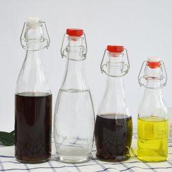 250ml en verre transparent de type rond bouteilles d'eau de boisson Cap/bouteille de vin/Portatif bouteille/bouteille/Swing Haut de page de personnalisation de la bouteille en verre