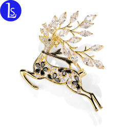 Commerce de gros cadeau de Noël de la personnalité Deer Accessoires de Mode de zircon broche