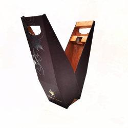 Dobragem personalizada de fábrica fechada em madeira MDF única Garrafa Vinho Caixa de Embalagem