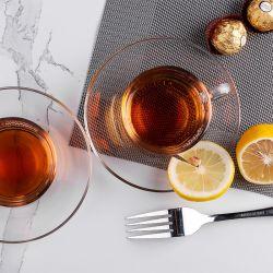 믿을 만한 공급자 210ml 7.1oz Bubble Tea Clear Custom Royal Luxury 홀더가 있는 유리 티 컵 세트