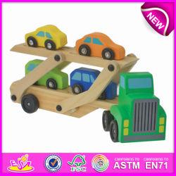 Jouet en bois pour les enfants de transporteur de voitures, de la sécurité drôle de collection de voiture Mini en bois jouet pour enfants, mignon voiture jouet en bois pour bébé W04A082