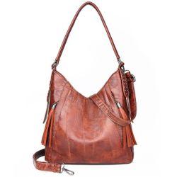 Saco de mulheres Saco grande saco de ombro com sobremedida de couro PU Retro Saco a tiracolo de Grande Capacidade Casual Sacos de moda com decoração Tassle13711 ESG