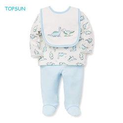 Os meninos do bebé roupas quentes com crianças T-shirt Bib e camisetas com pés proteger a desgaste