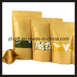 Papel Kraft Wholesales Ziplock Permanente sacos de embalagem de alimentos com janela transparente para doces, sementes, especiarias, chá, alimentos secos (16*22+4cm)