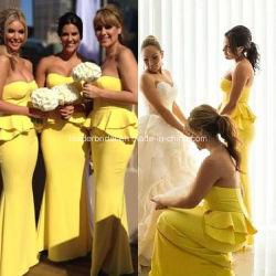 黄色い夕方の女性方法服の人魚のフラウンシングの新婦付添人はZ4026に服を着せる