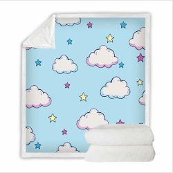 Super doux Sherpa couverture Couverture en laine polaire Ensemble de literie pour bébé avec l'impression numérique en 3D Blue Sky Cloud