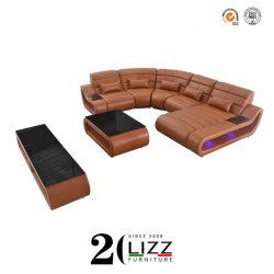 Ocio LED redonda de cuero sofá de casa de ensueño Salón