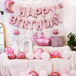 Película de aluminio Pink Balloon Set para Birthday Party Background Wall Decoración