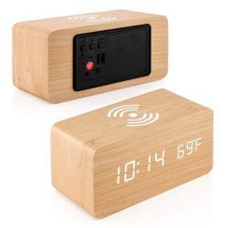منبه رقمي خشبي بتقنية LED موديل MDF بسماعة Bluetooth® خفيفة جديدة أثناء الليل الساعة