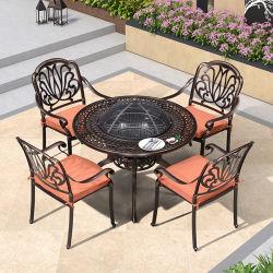 BBQ Garden Patio Table en 4 stoelen Set Cast Aluminium BBQ meubilair Cast tuinmeubelen Sets