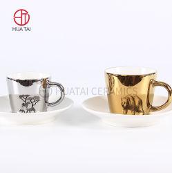 2020 Ouro de galvanização de alta qualidade cerâmica tecnologia 5oz chávena de café e pires