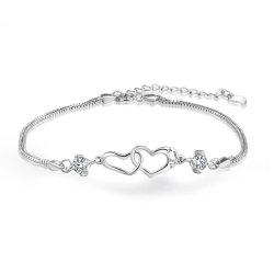 Herz-Armband 925 Sterling Silber Herz-Verriegelung