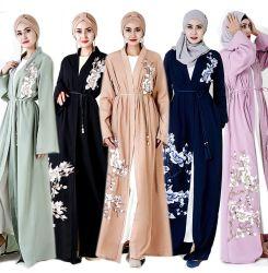 Abaya 회교도 긴 소매 여자를 위한 벨트 허리띠를 가진 이슬람교 피복 복장