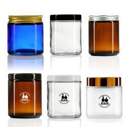 卸売 5g 10g 15g 1oz 2oz 4oz 8oz Luxury Clear 褐色艶消しストレート竹クリームガラスウェア容器外装パッケージ ふた付きキャンドルグラス瓶