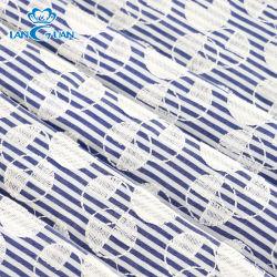Círculo geométrico rayas azul y blanco bordado de algodón tejido de encaje