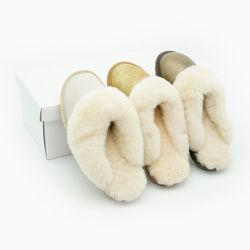 ホールセールホットセールフィットシープスキンふわふわのスリッパコンフォート純正レザー 冬用スリッパ